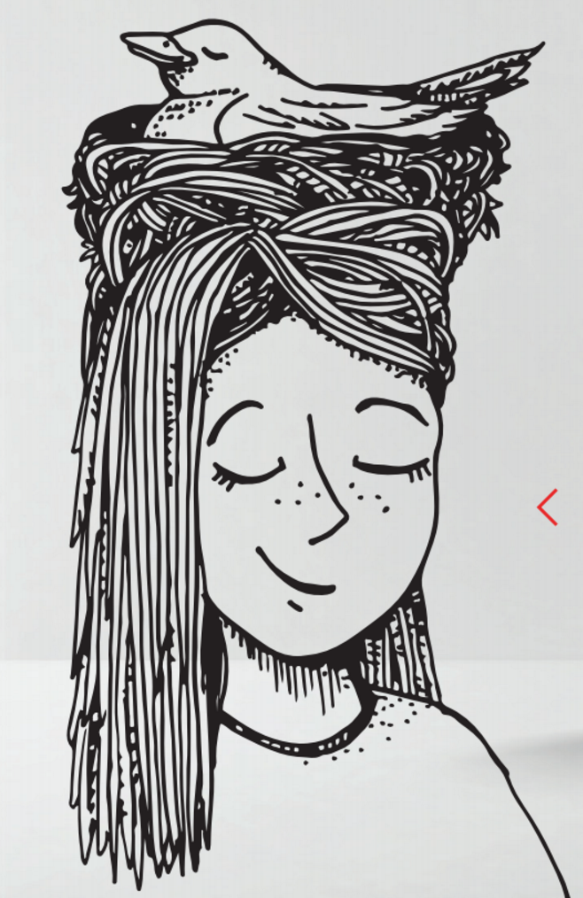 This is Alice's self-portrait that was featured inside our fall mailers!