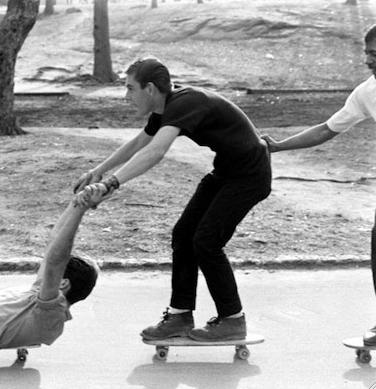 A photo of Bradley skateboarding in Central Park in 1963.
