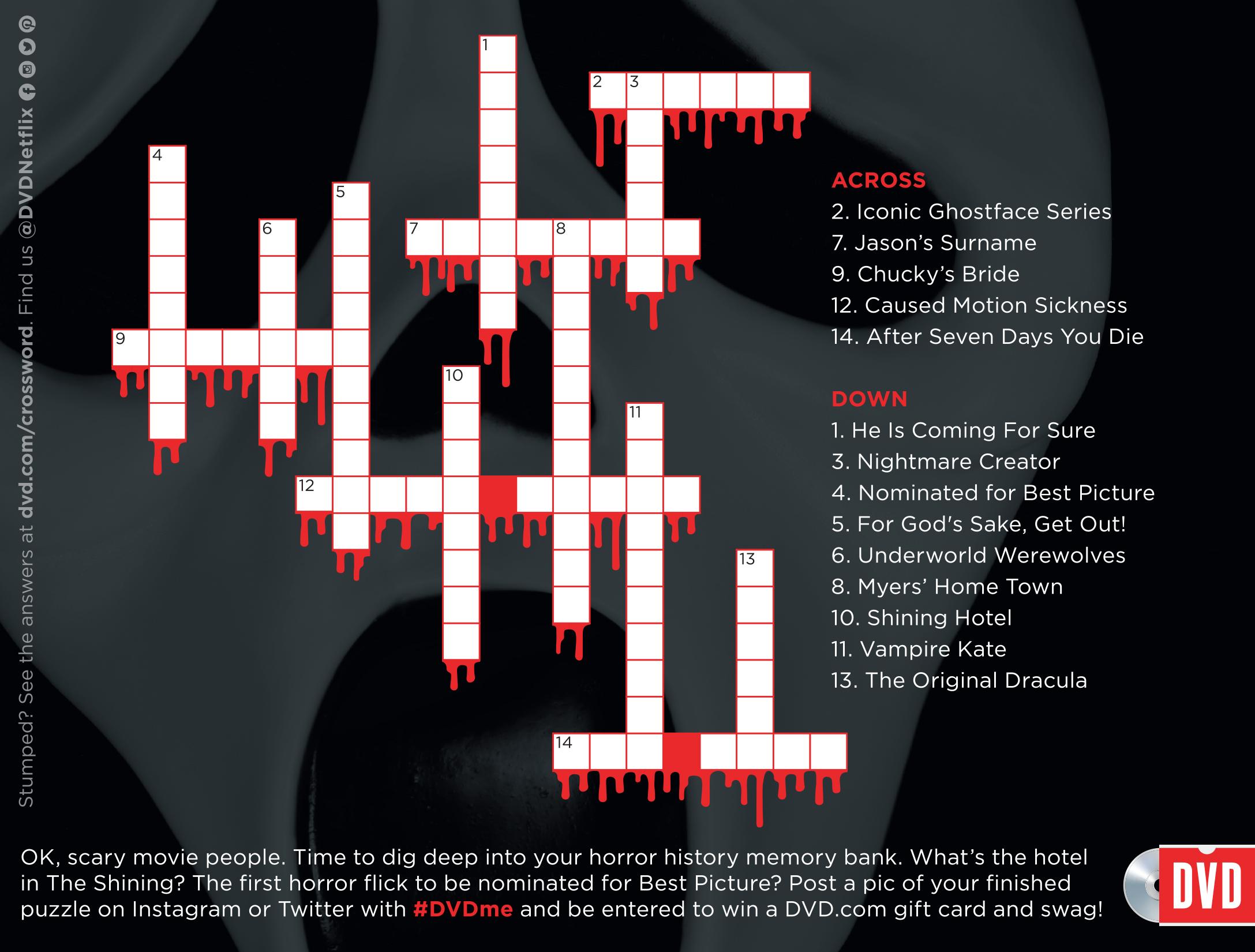 DVD.com Halloween Mailer Ad Panel CROSSWORD