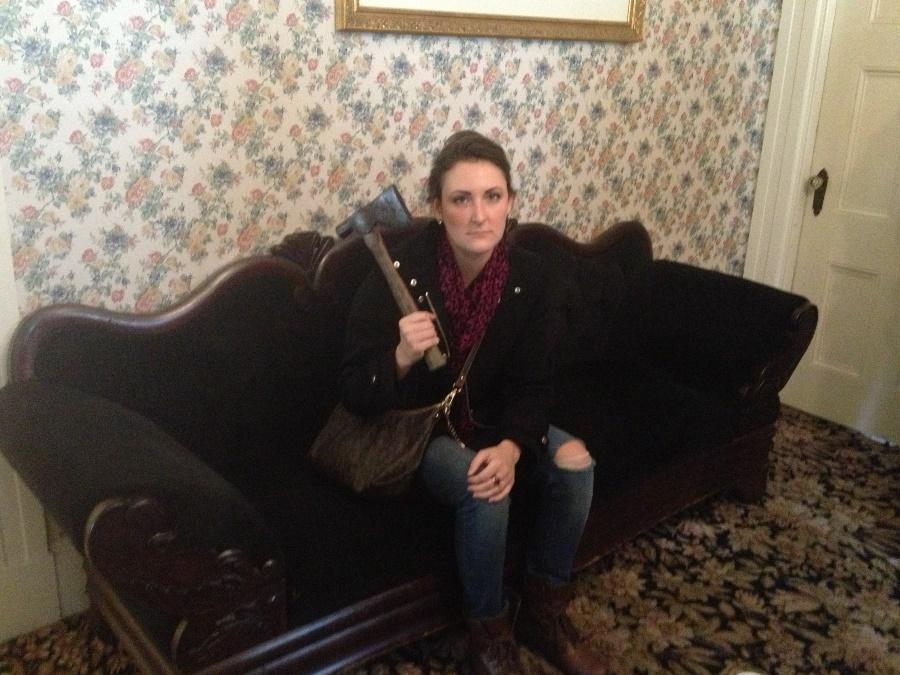 Lizzie Borden House. Fall River, MA.  Sitting in the room where Mr. Borden was murdered.