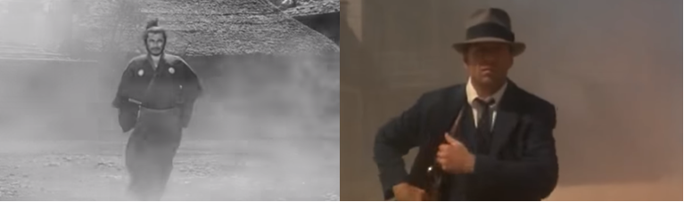 Smoke in the entry of protagonist: Yojimbo (1960) and Last Man Standing (1996).