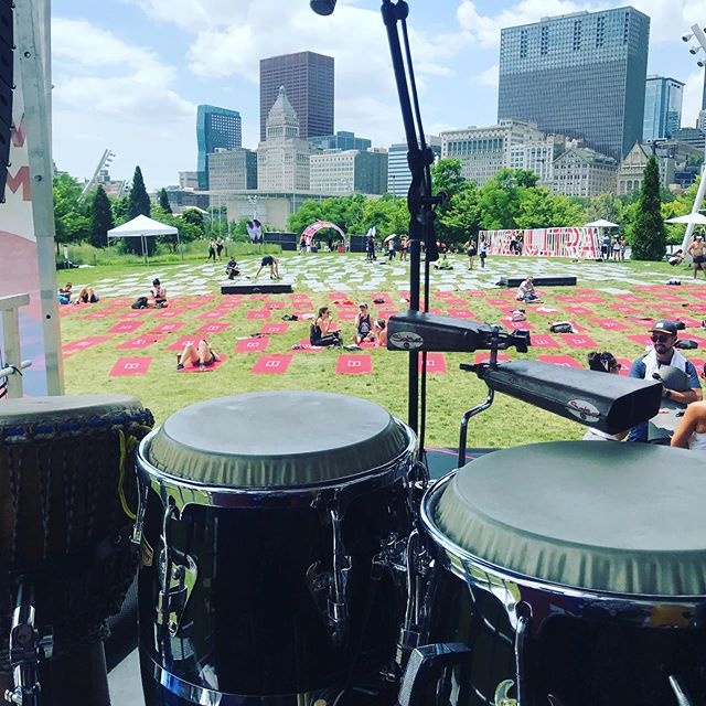 Drums and yoga sponsored by Michelob Ultra at Maggie Daly Park. #hotyoga #folkrhythms #congas
