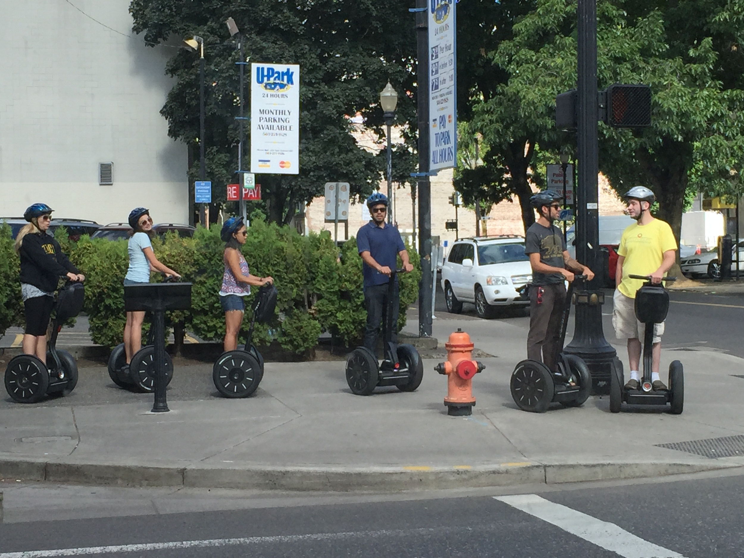 These lucky people are on a Segway tour of Portland.