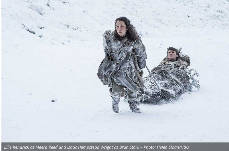 I have to say, Meera really got the short end of the stick. She's still toting Bran around. He can't help that he is paralyzed, but now Hodor is gone so she is sole taxi driver and constant sidekick. Hopefully her story line will be more than that.
