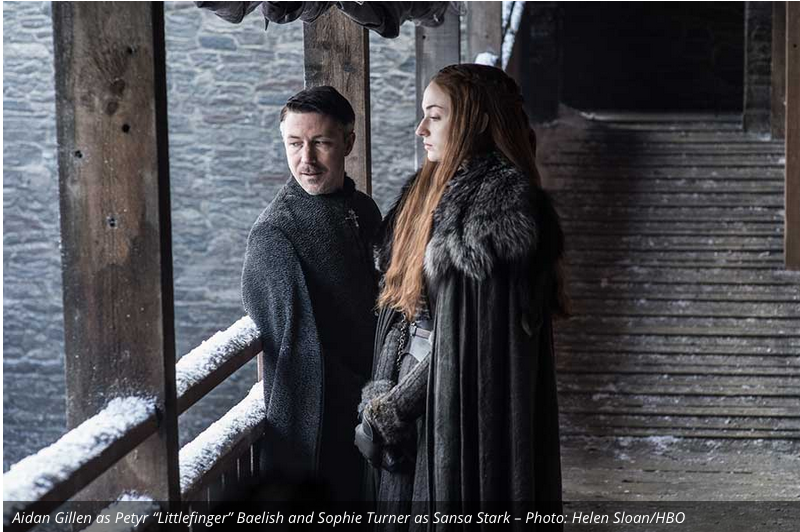 Littlefinger continues to prod Sansa to move against her brother and join him in his conquest for the Iron Throne. Her stoic look is hopefully a sign that she is trying to ignore him.