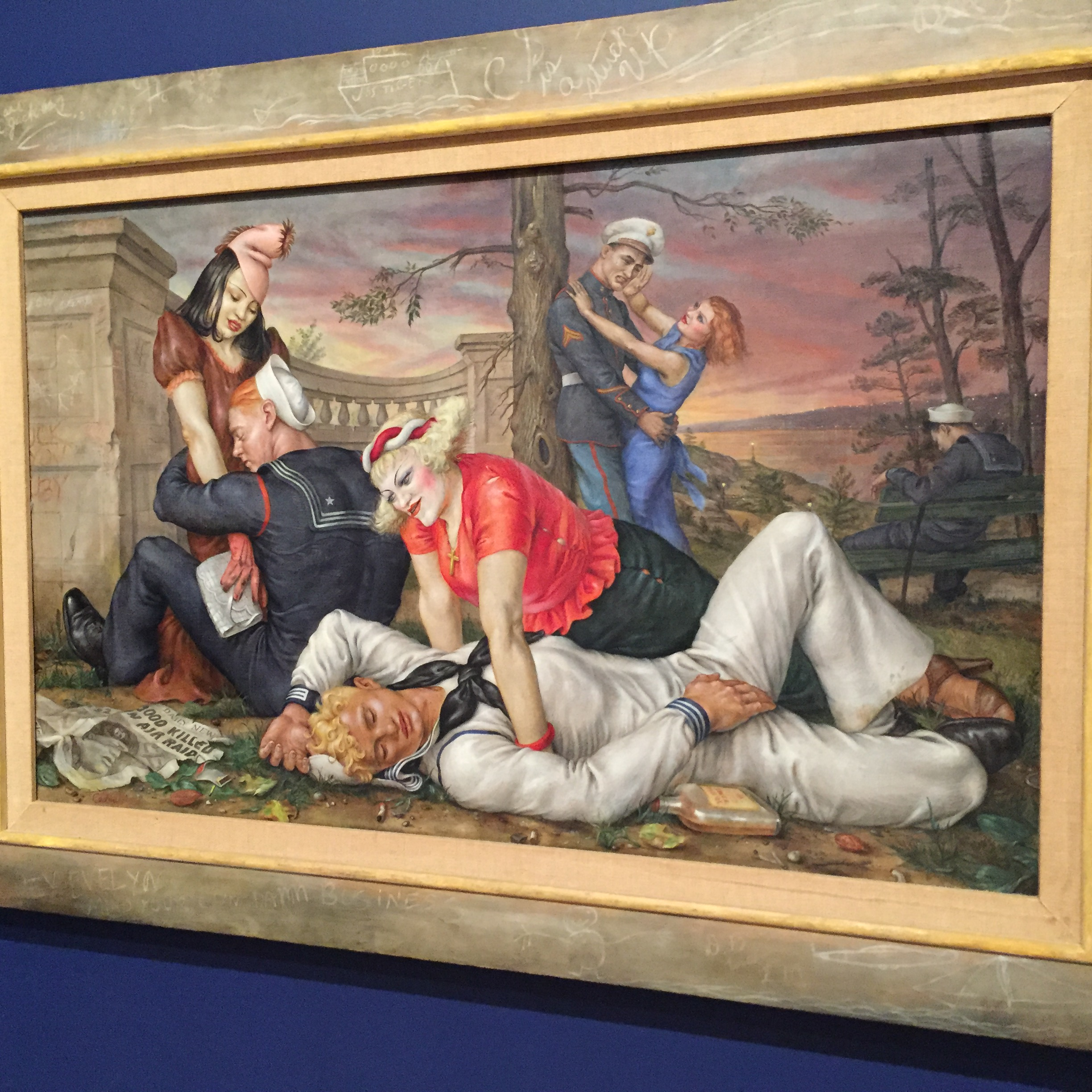 Sailors and Floozies  (1938) by Paul Cadmus on view at The Whitney Museum, NYC. Photo by Joe Salvatore