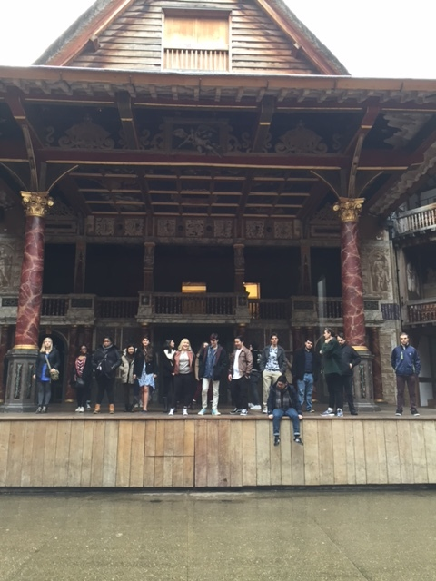 Members of the class on stage at The Globe, right after making a grand entrance through the upstage double doors, from the tiring room.