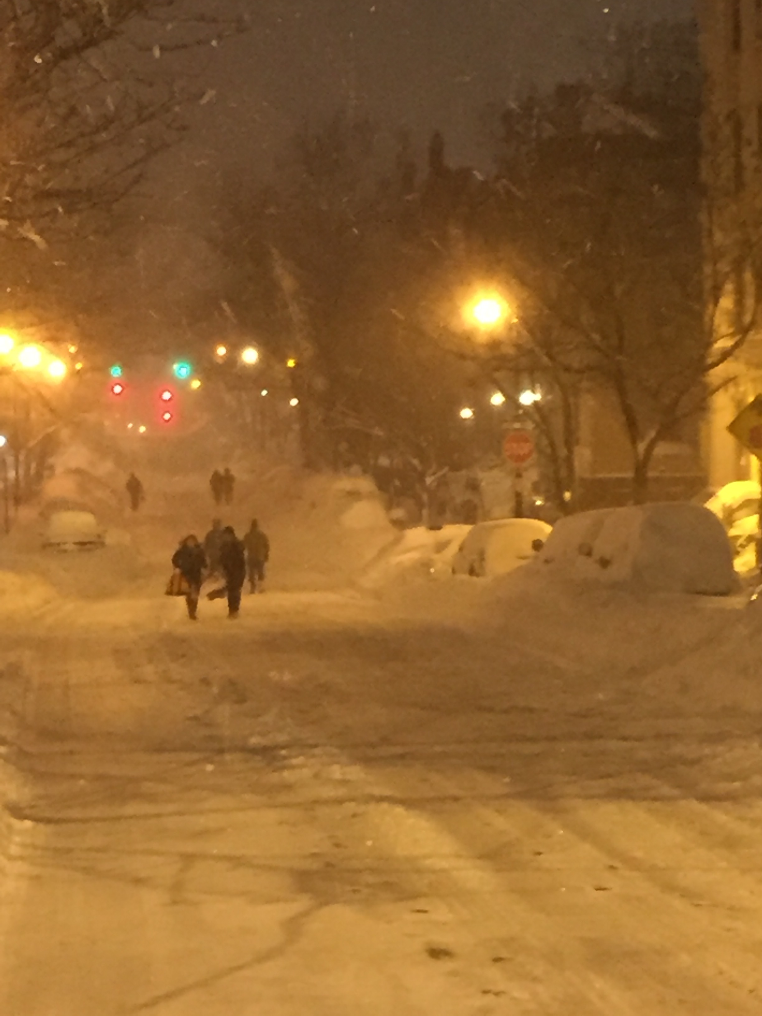 Evening of Saturday, January 23, 2016. Convent Avenue looking north from 145th Street in Manhattan.