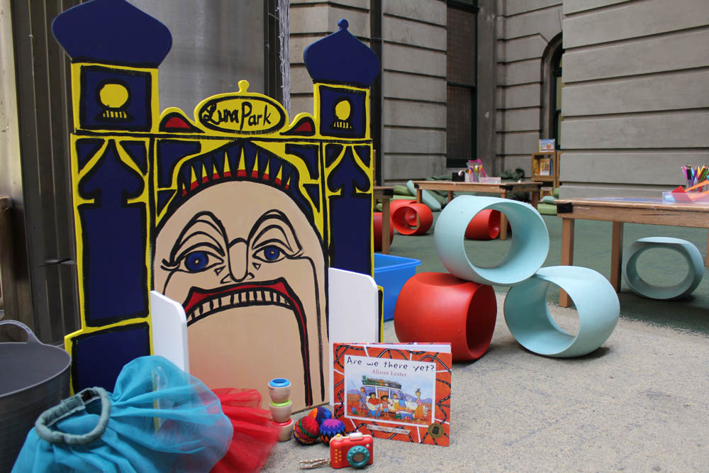 Luna Park set, 'Are we there yet?' in Play Pod for State Library Victoria.