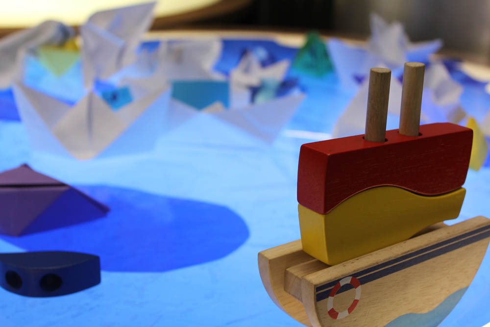 Participants' boats, 'A River' in Play Pod for State Library Victoria.