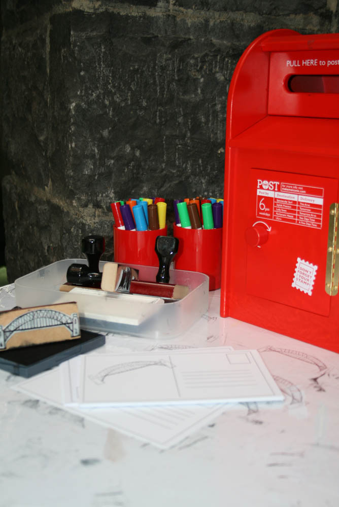 Make and post your own postcards, 'Are we there yet?' in Play Pod for State Library Victoria.