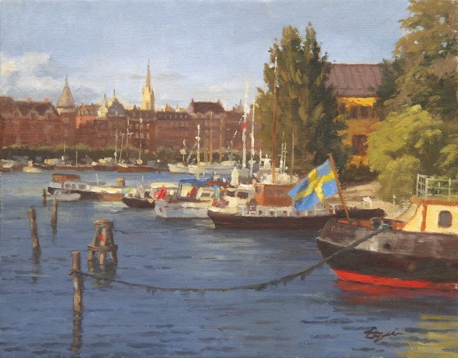 "Evening Light in Stockholm 11x14  ""sold"""