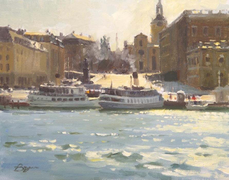 Ferry Boats of Stockholm 11x14  $1400.