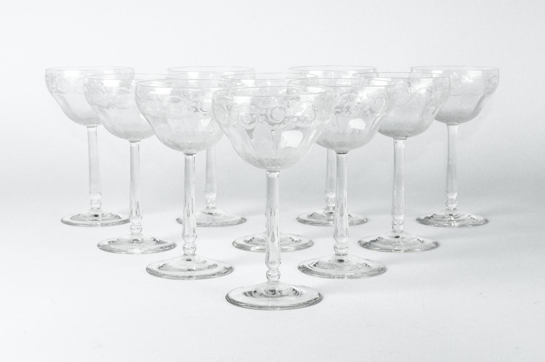 Vintage Ten Etched Crystal Coupe Glasses La Maison Supreme Ltd