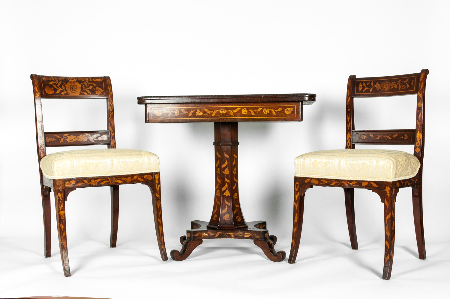 Antique Three Piece Marquetry Table With Two Side Chair Set