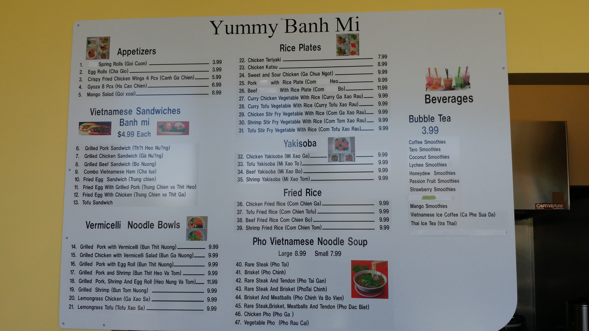 Yummy Banh Mi's surprisingly large menu