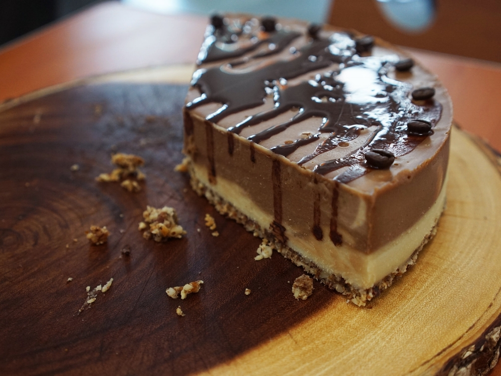 Cafe Wylde's vegan Hazelnut Mocha cheesecake.