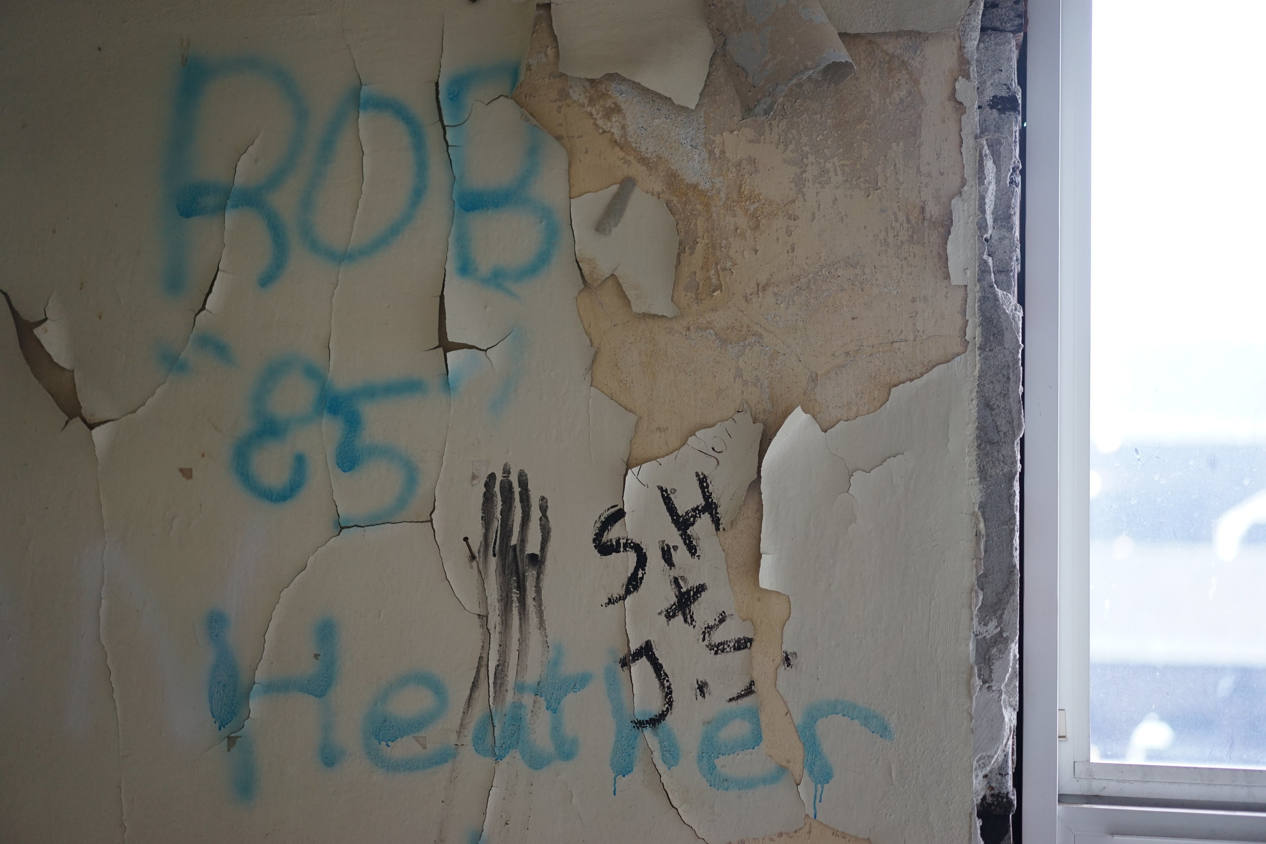 """Rob and Heather 85"" graffiti // Richard Porter"