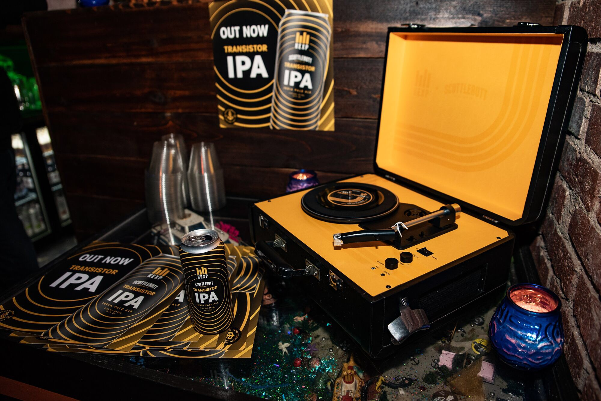 The new Transistor IPA on display at KEXP's release party for the beer // Christine Mitchell