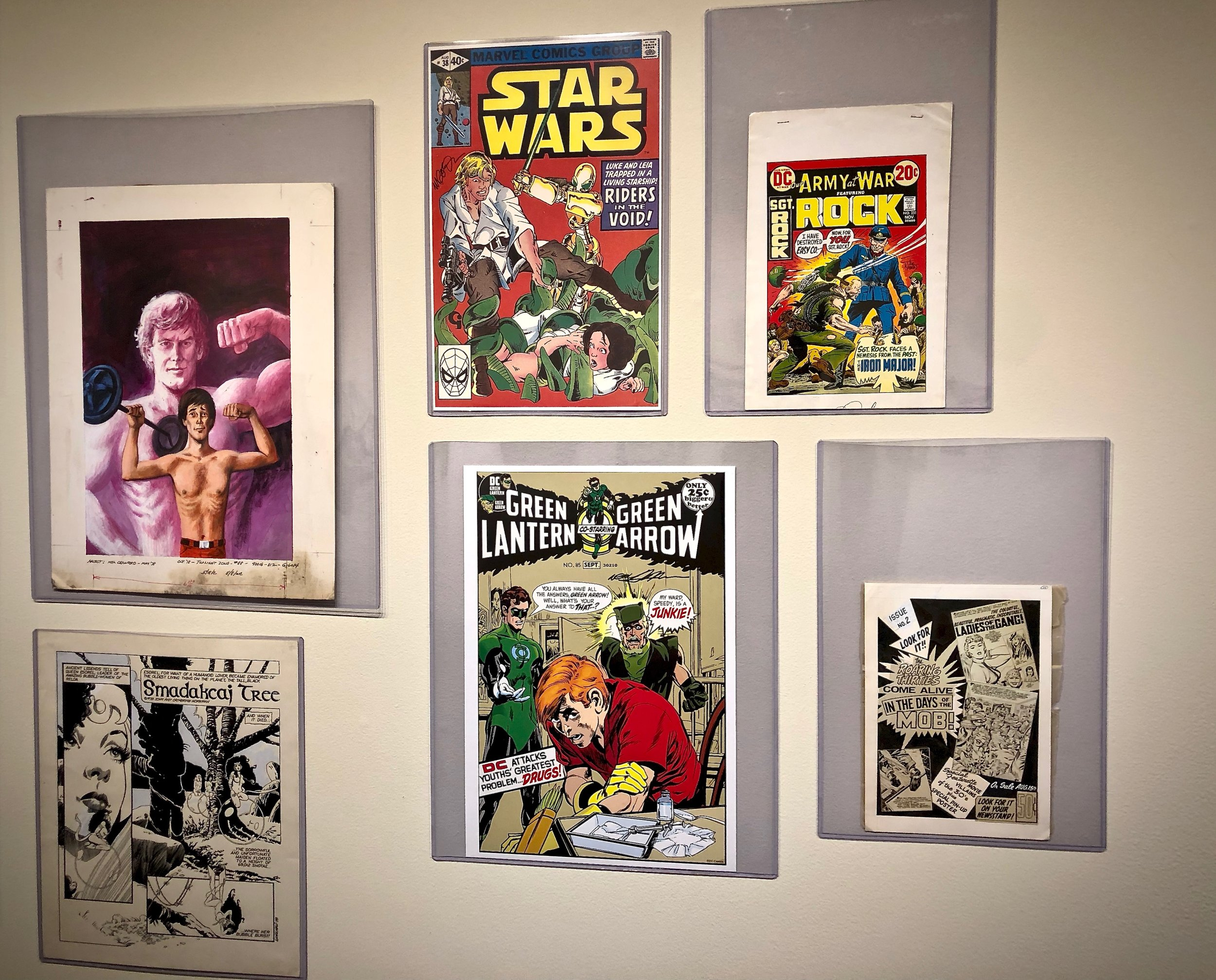 A portion of the Bronze Age exhibit, including Green Lantern & Green Arrow number 85 // Henry J