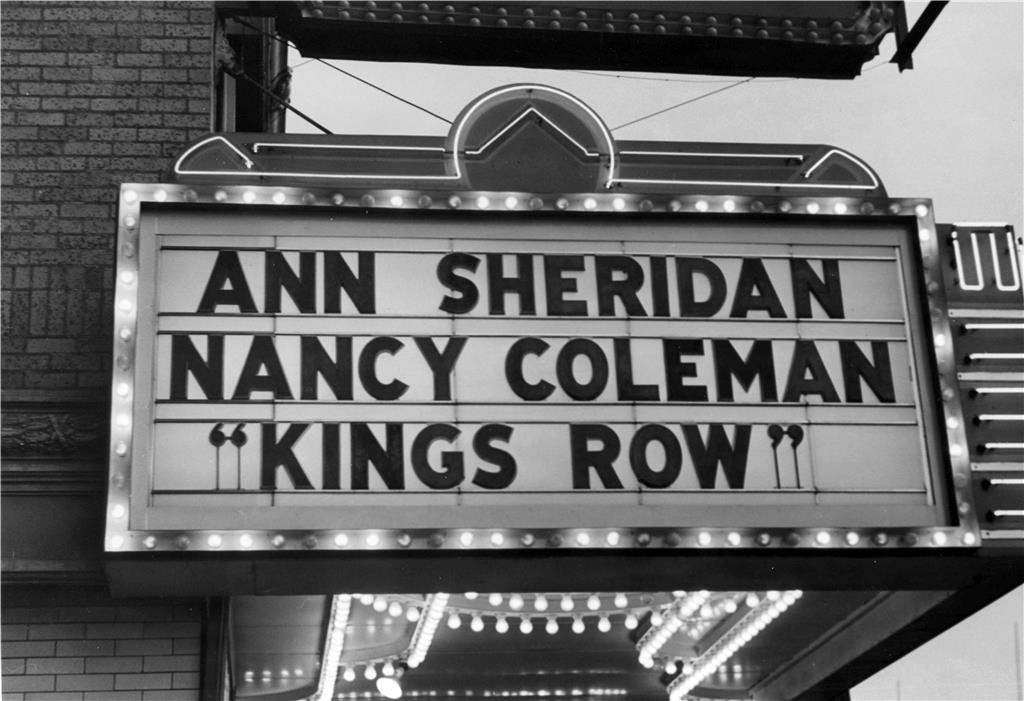 Nancy Coleman's name in lights on the marquee at the Everett Theater, 1942 // Unknown