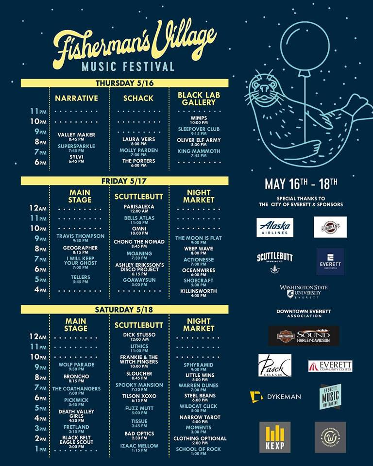 The schedule and lineup for the 2019 Fisherman's Village Music Festival