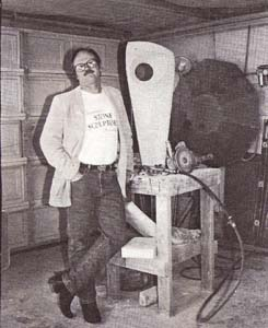 Vintage Reg Akright in his studio, circa 1991 // Courtesy Northwest Stone Sculptor's Association