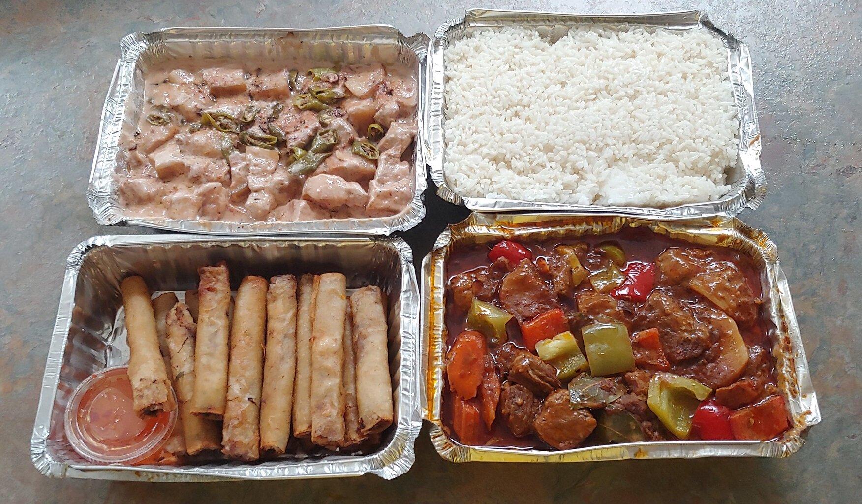 Bricol express, rice, lumpia, and calederata // Christopher Bragg