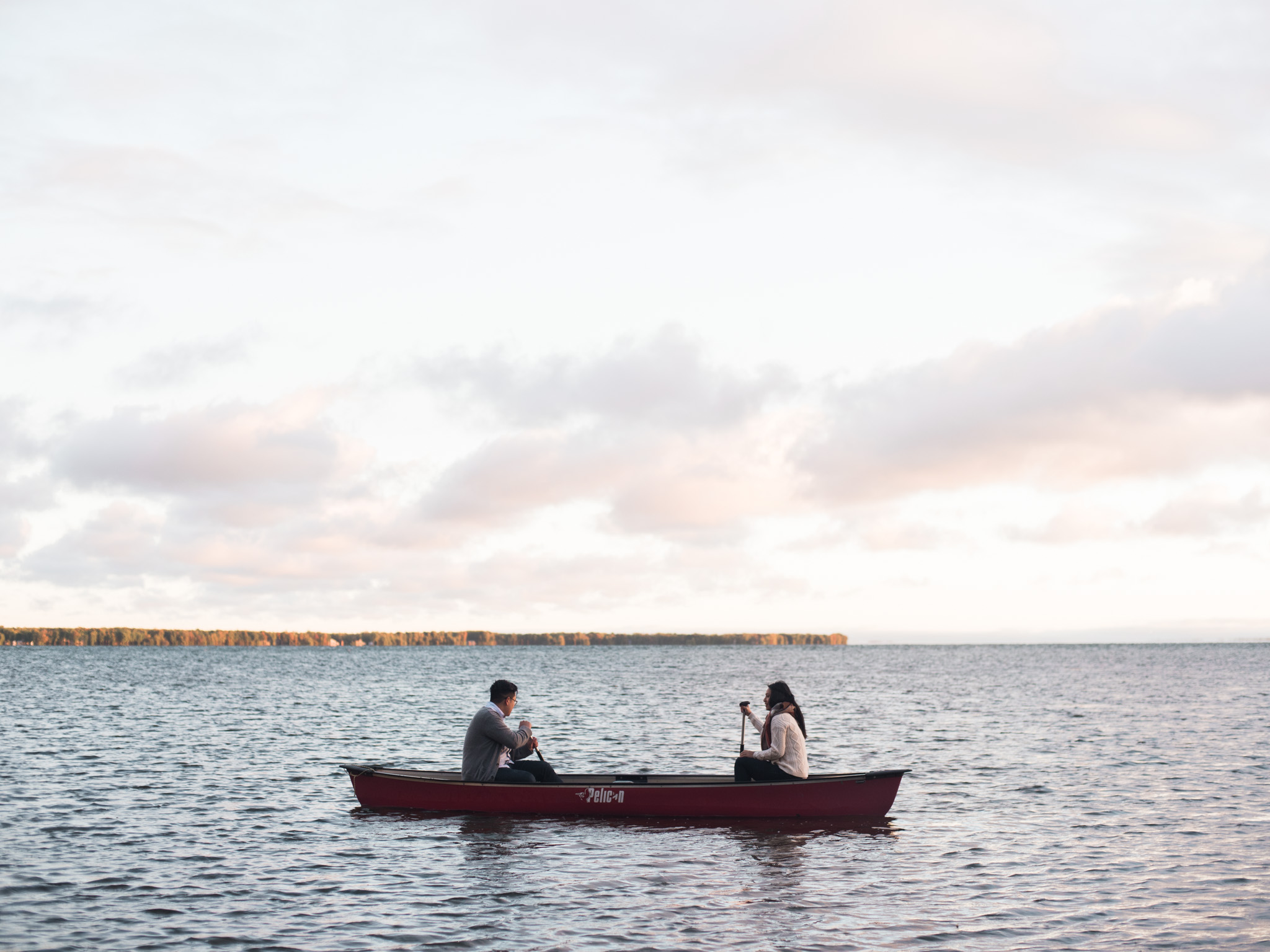 Lake canoe engagement fiona chiu photography