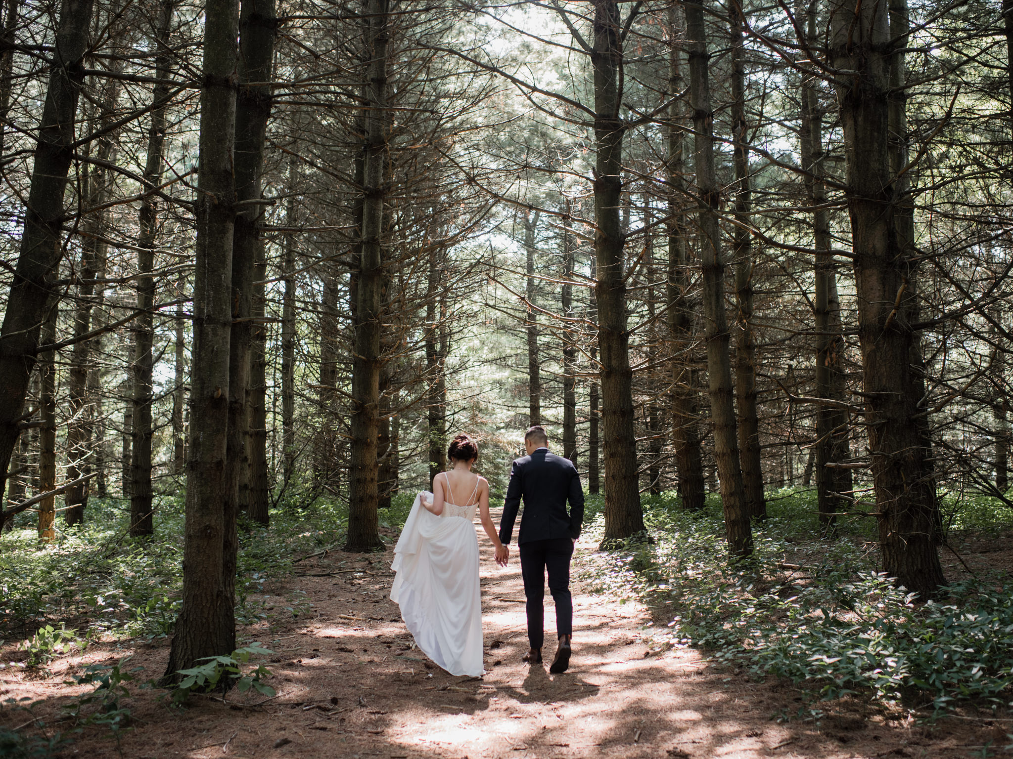 Wedding portraits of bride and groom in forest