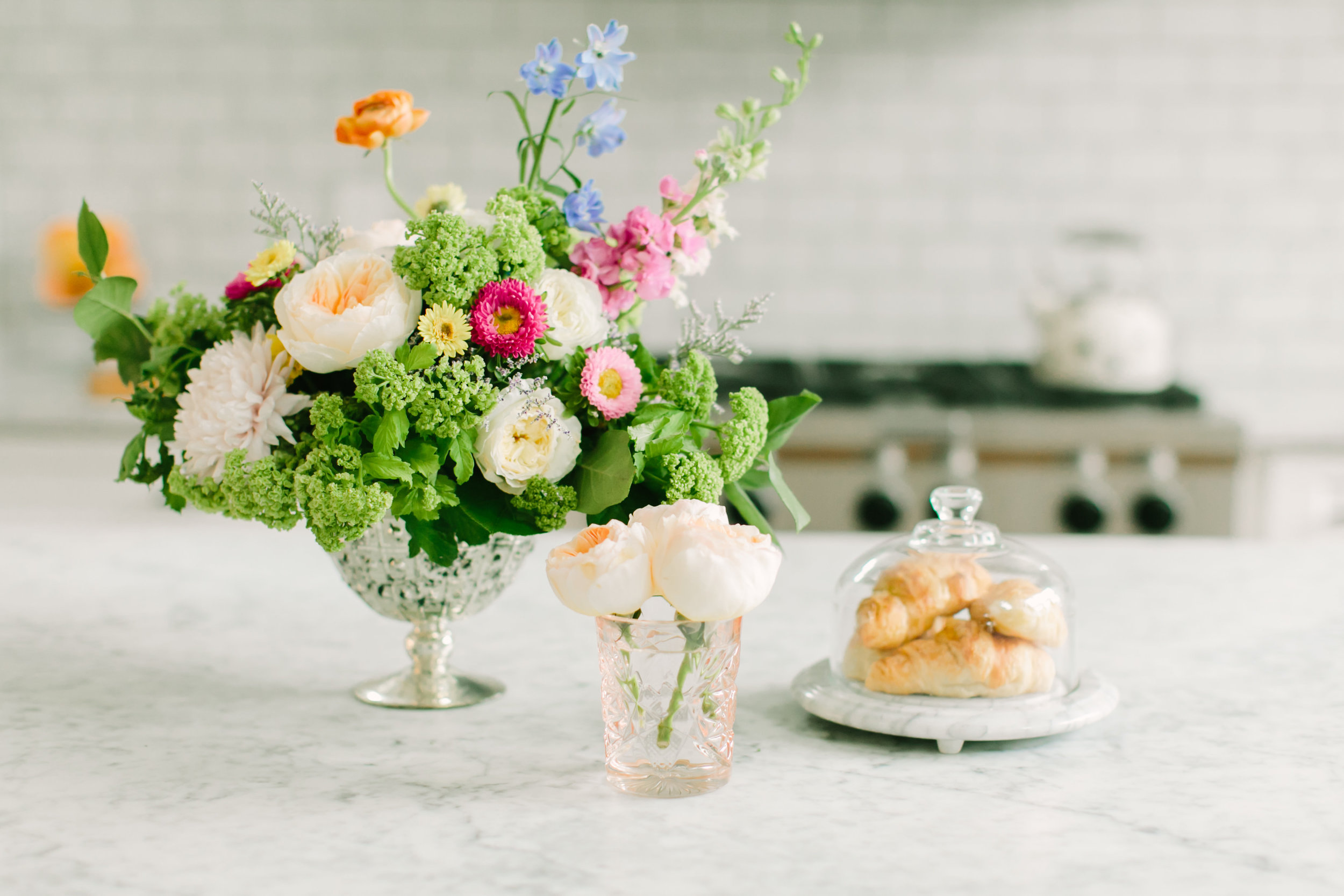working from home floral arrangement morning time breakfast client meetings small business advice