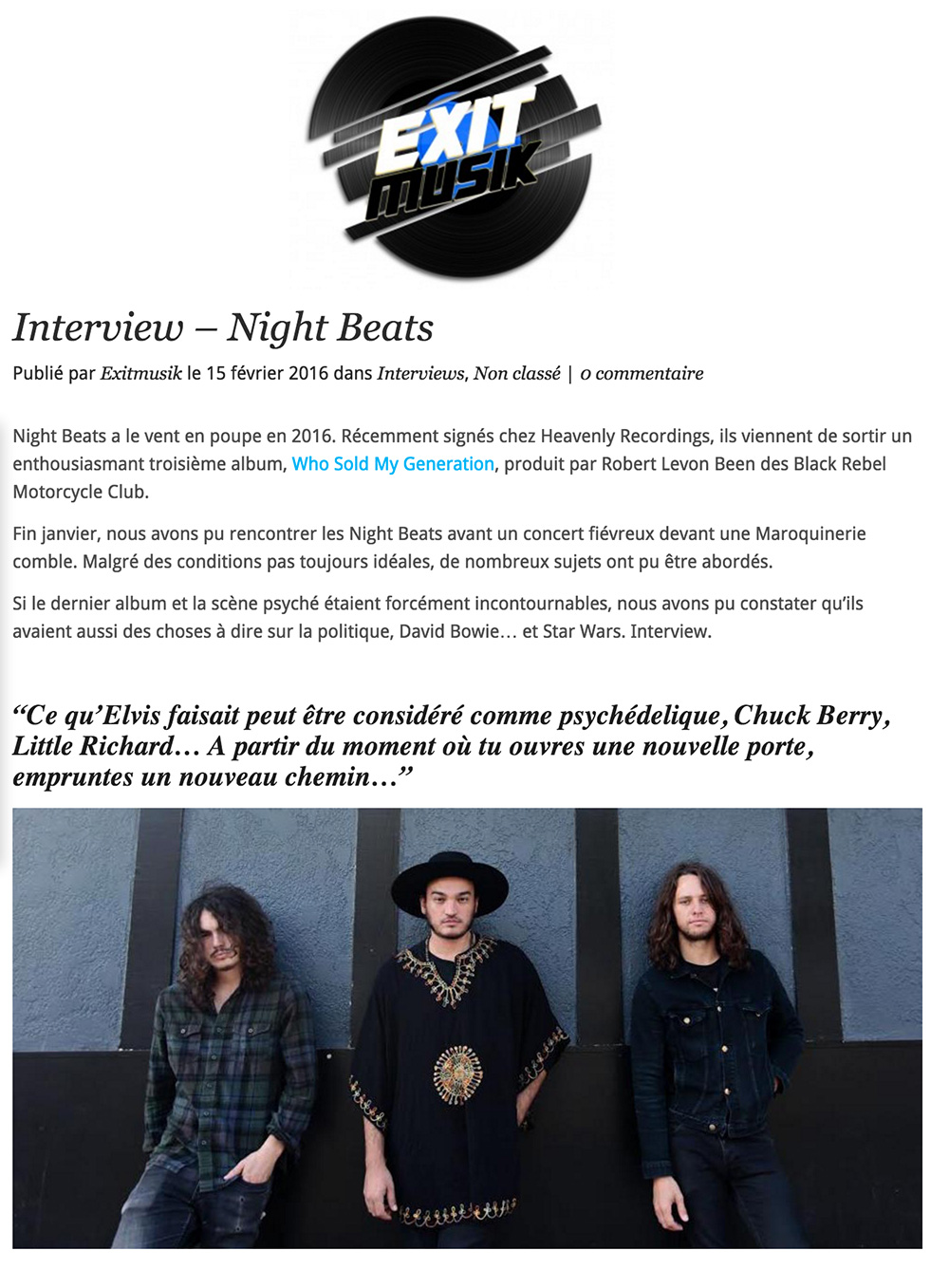 Night Beats Exit Musik Interview