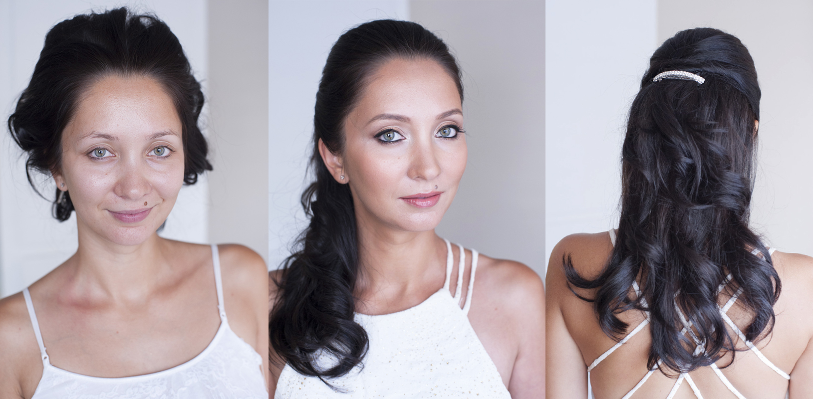 BeautyAffair before and after bridal makeup green eyes hairstyle half up down by Agne.jpg