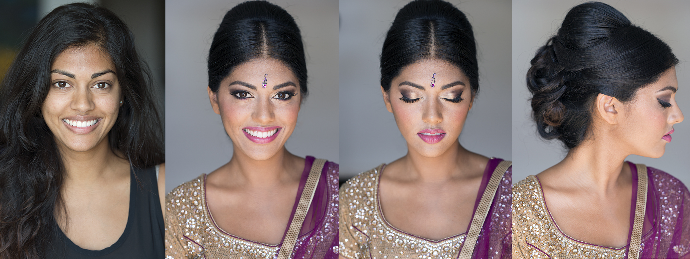 Before and after indian natural headshot makeup and hair by Agne Beauty Affair event celebration bridal pink gold smokey eyes.jpg