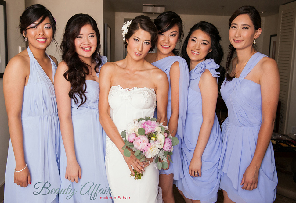 Beauty Affair bride makeup and wedding updo and bridesmaids makeup hairstyles purple dress