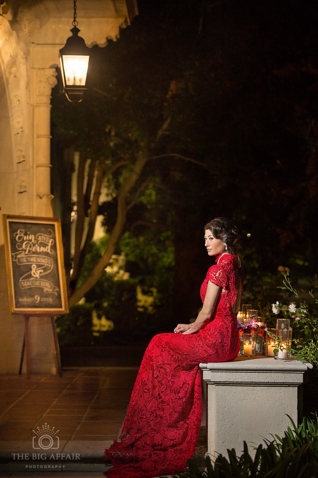 The Big Affair Wedding photography hair and makeup Beauty Affair red lace dress