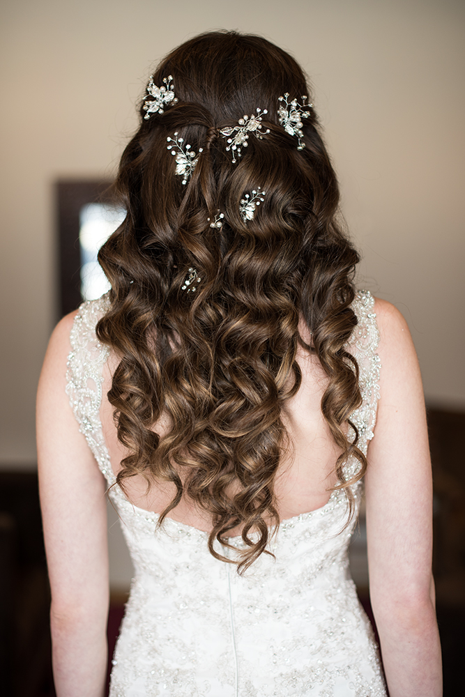 Hair down wavy curly hair pins crystal pearl by Beauty Affair.jpg