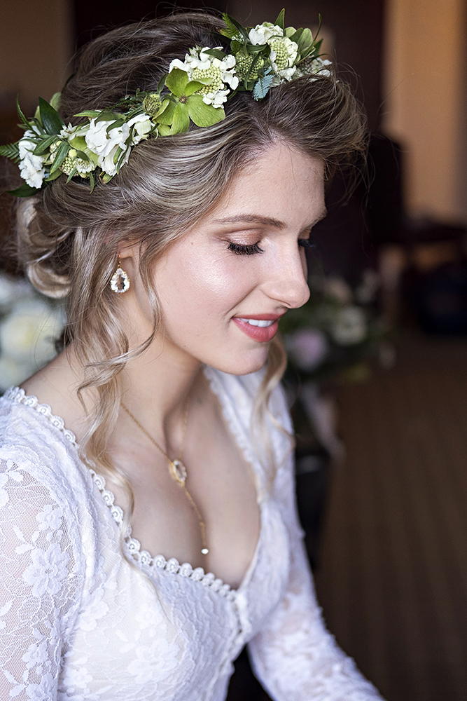 boho romantic bridal glow peach natural lace wedding low updo flowers LA Los Angeles Beauty Affair.jpg