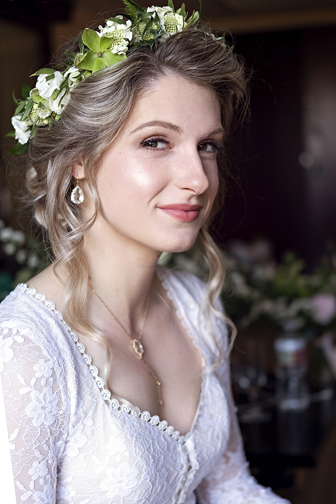 glowing peach boho romantic bridal lace wedding low updo flowers LA Los Angeles Beauty Affair.jpg