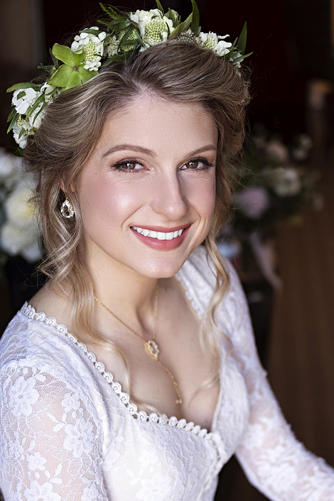 glowing peach boho romantic bridal wedding low updo flowers LA Los Angeles Beauty Affair.jpg