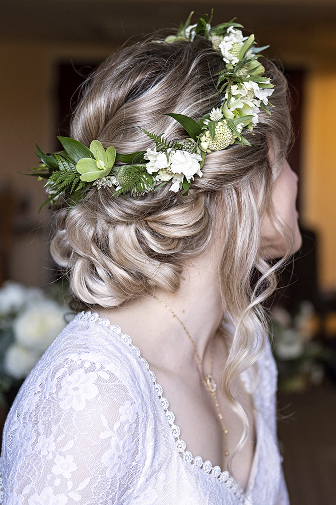 boho romantic bridal wedding low updo flowers LA Los Angeles Beauty Affair.jpg