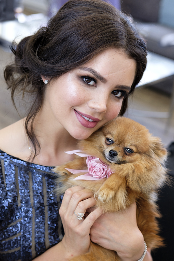 Puppy love dog pink lips updo makeup and hair wedding bridesmaid.jpg