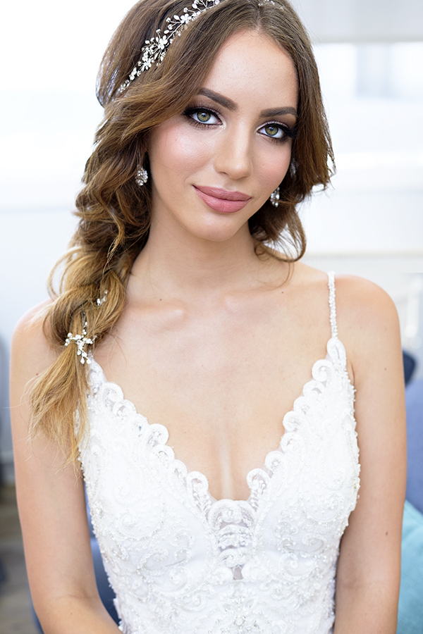 glowing nude lips makeup smokey eyes Bridal hair braid down by beauty Affair.jpg