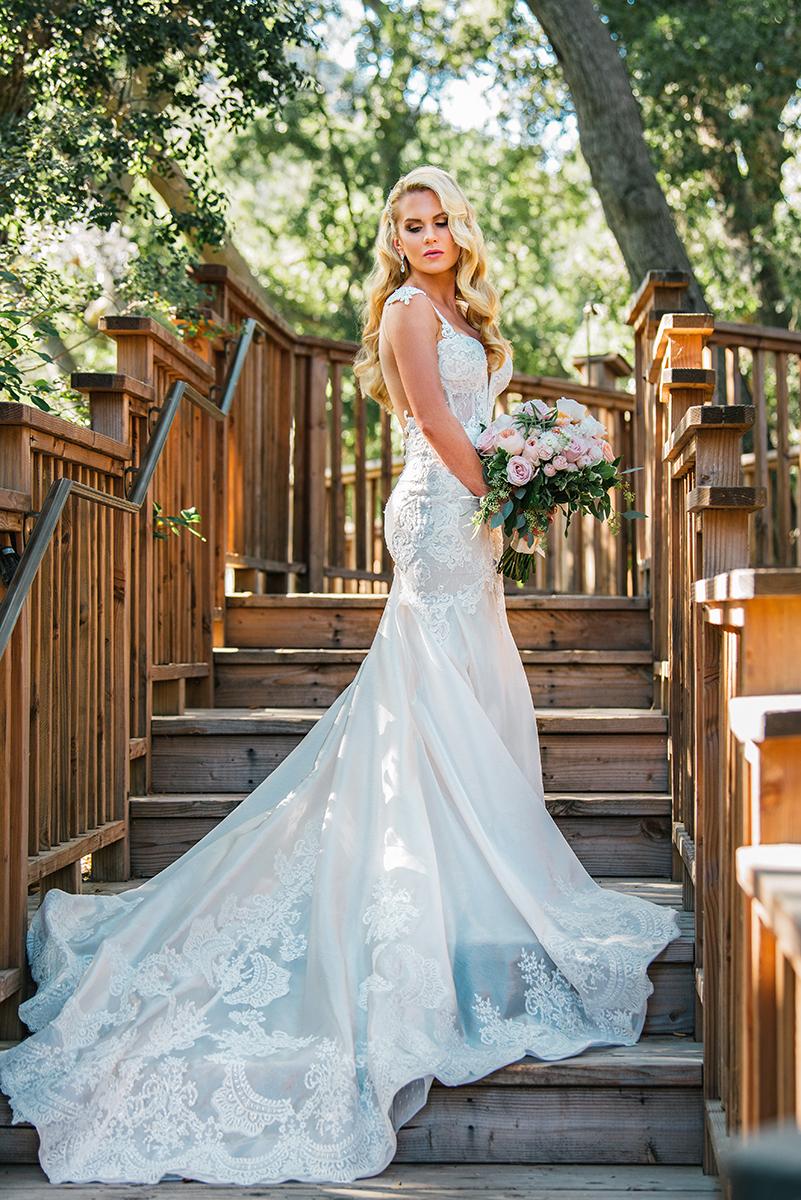 Bridal beauty wavy hair pink lips blonde berta gown dress Calamigos .jpg