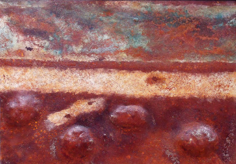 Dover Pier - formed steel panel, controlled rust, acrylic, patina