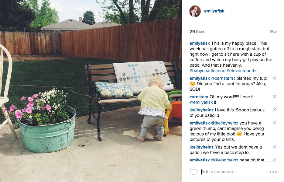 An Instagram-worthy moment. Outside the frame: weeds and also zero makeup.