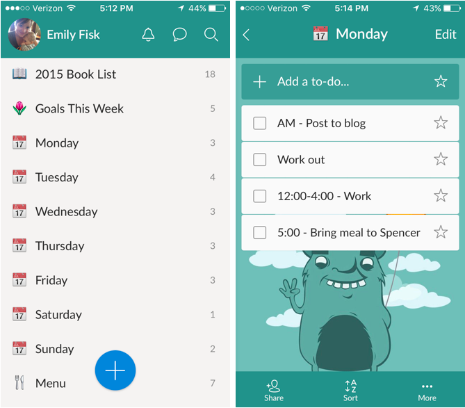 Wunderlist: one of my favorite apps for busy moms. This app makes my life so much easier! emilyfisk.com