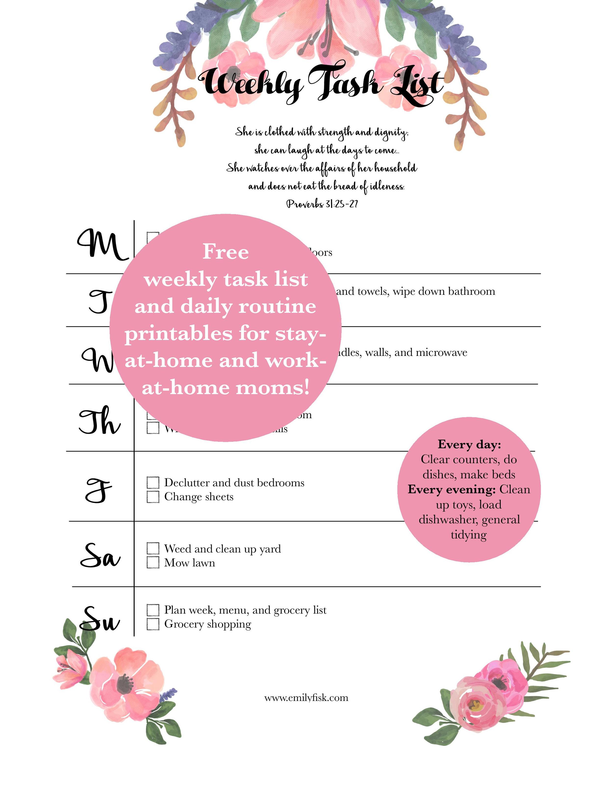 Free weekly cleaning list and daily routine printables from emilyfisk.com! They're even customizable to fit your life.