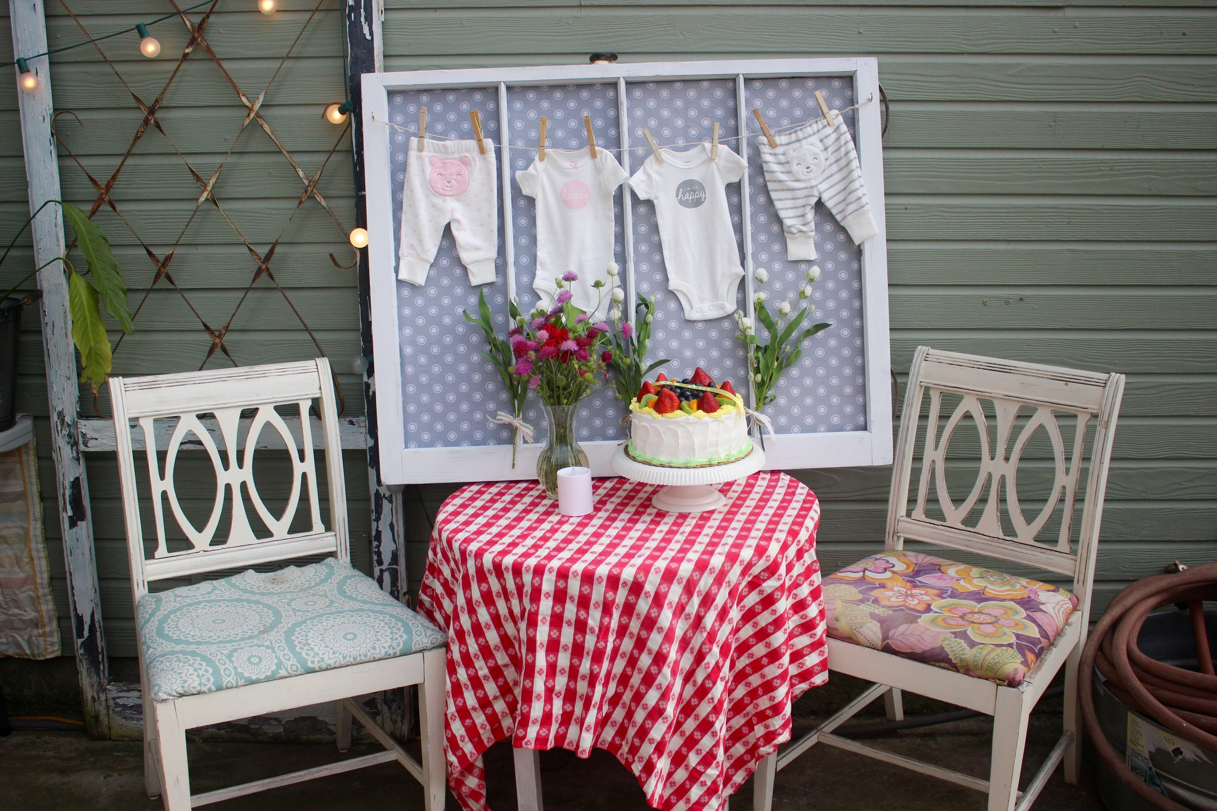 Simple backyard gender reveal party. Use an old window to display boy and girl onesies!