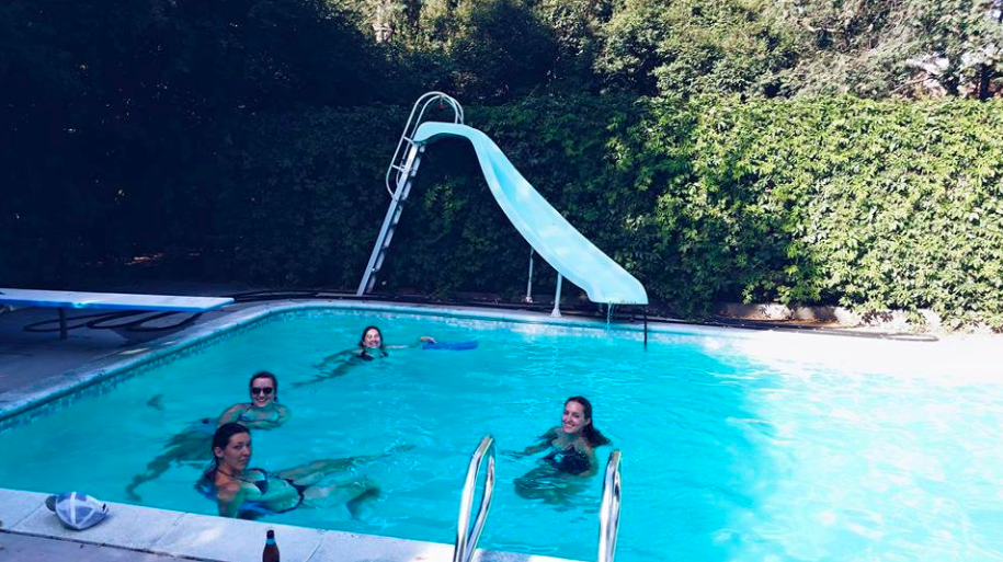 "And sometimes we hold ""swimming group"" and writing group at the same time, because one member has a pool and we're not idiots. @emeryross"